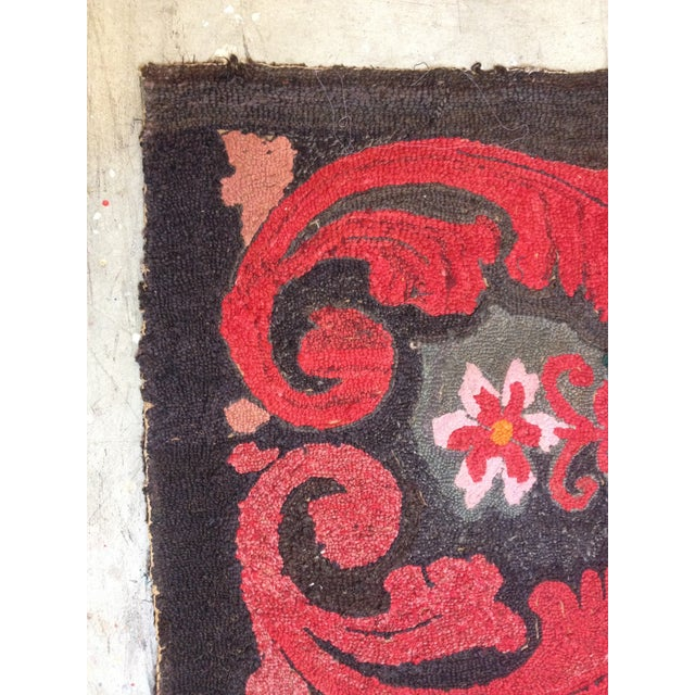 """Stitched Crewel Red & Brown Rug - 2'6"""" x 4'4"""" - Image 4 of 7"""