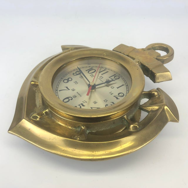Late 20th Century Vintage Brass Anchor Wall Clock For Sale - Image 5 of 11