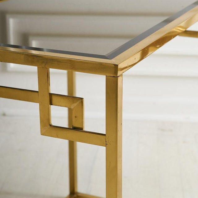 1970s Brass and Rose Gold Italian Mirrored Glass Nesting Tables For Sale - Image 5 of 8