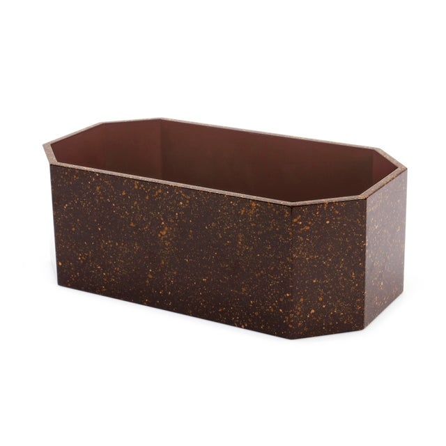 Miles Redd Collection Octagonal Napkin Box in Porphyry For Sale - Image 4 of 5