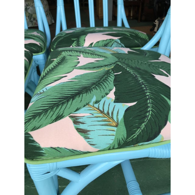 Turquoise Coastal Regency Lexington Cathedral Turquoise Palm Leaf Upholstered Chairs-Four For Sale - Image 8 of 12