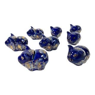 Cobalt Ceramic Pig Placecard Holders, Set of 8 For Sale