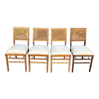 Set of 4 Vintage Folding Chairs W Cane Back & Faux Bamboo Frame For Sale