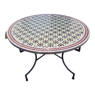 Vintage Moroccan Multicolor Mosaic Table For Sale