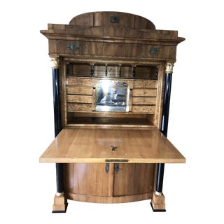 Antique Biedermeier Satin & Ebony Drop Front Secretaire For Sale