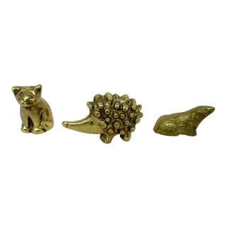Mini Brass Kitten Hedgehog & Seal Figures - Set of 3
