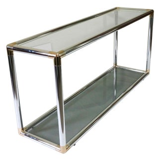 Modern Tubular Chrome Console Table With Glass Shelves For Sale