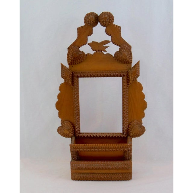 1940s Tramp Art Wood Bird, Diamonds, Hearts Antique Frame Wall Storage For Sale - Image 5 of 5