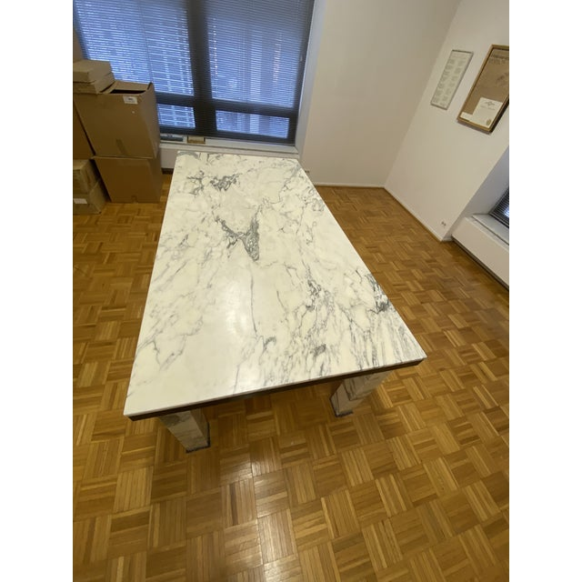 Mid-Century Modern 1970s Vintage Calacatta Marble Dining Table For Sale - Image 3 of 13