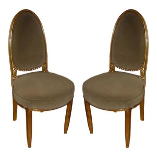 Paul Follot Carved Wood Gilded Pair of Chairs For Sale