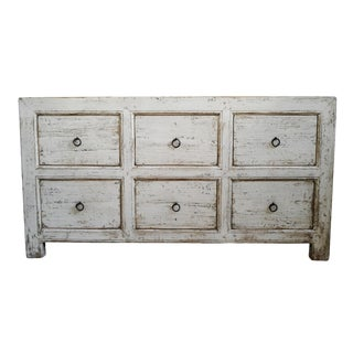 Farm White Wash Old Wood Dresser For Sale