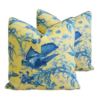 """Summer Blue Birds & Butterflies Feather/Down Pillows 20"""" Square - Pair For Sale"""