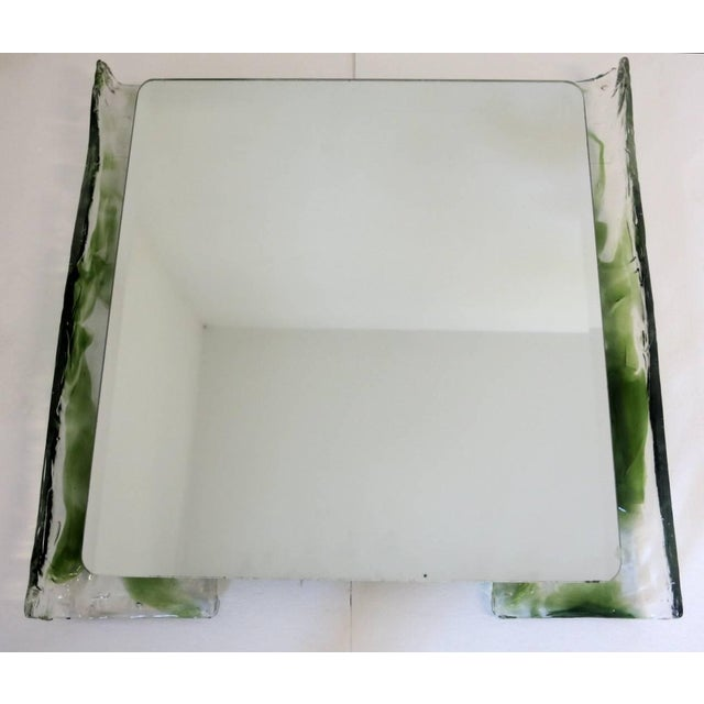 Vintage original Italian bathroom set in clear and green Murano glass, including below items: One back lit mirror, four...