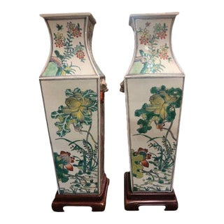 19th Century Large Decorative Chinese Famille Verte Vases - a Pair For Sale