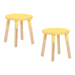Nico & Yeye Peewee Kids Chair Solid Maple and Maple Veneers Yellow - Set of 2 For Sale