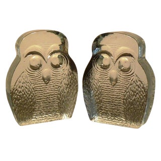 Vintage Blenko Owl Form Bookends - a Pair For Sale