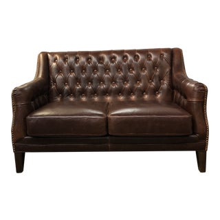 Tufted Leather Loveseat With Nails For Sale