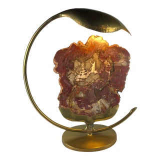 Brass Leaf and Petrified Wood Sculptural Table Lamp by Henri Fernandez For Sale