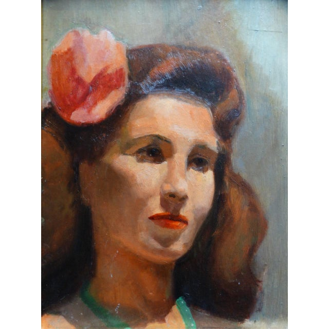 Mid 20th Century Vintage Mid-Century Albert Londraville Woman With a Flower in Her Hair Painting For Sale - Image 5 of 8