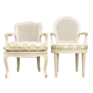 French Painted Cane Arm Chairs - A Pair Preview