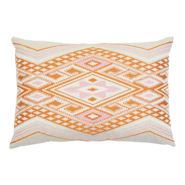Schumacher Bayeta Pink and Orange Embroidery Pillow For Sale