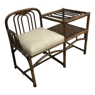 Vintage Rattan Telephone Table Bench Chair For Sale