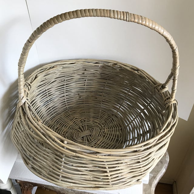 Americana Extra Large Wood Woven Decor Basket For Sale - Image 3 of 11