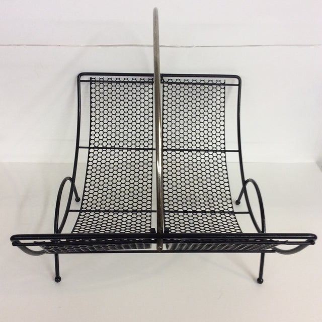 Lacquer Mid-Century Black Pierced Lacquered Metal Firewood Holder For Sale - Image 7 of 8