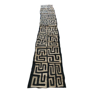 """Handwoven Kuba Cloth African Long Textile - 10'7"""" x 1'10"""" For Sale"""
