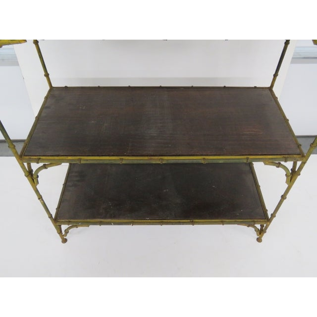 Distressed Painted Metal Faux Bamboo Etagere - Image 3 of 4