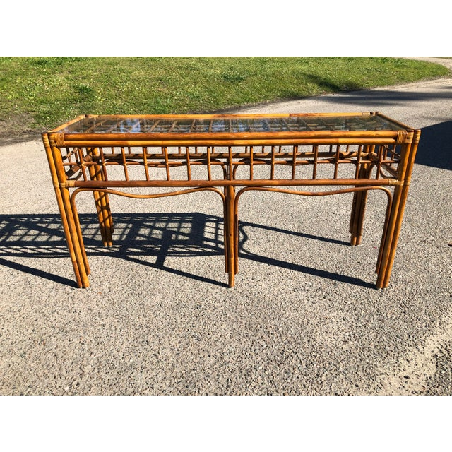 Wood 1970s Boho Chic Rattan Console For Sale - Image 7 of 9
