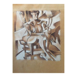 Vintage Primitive Cubism Drawing For Sale