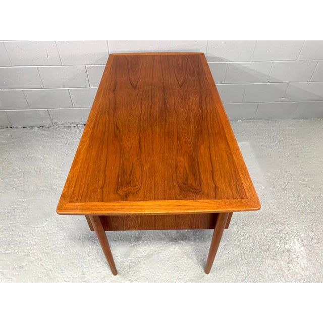 Brown Danish Modern Teak Desk Attributed to Kai Kristensen For Sale - Image 8 of 10