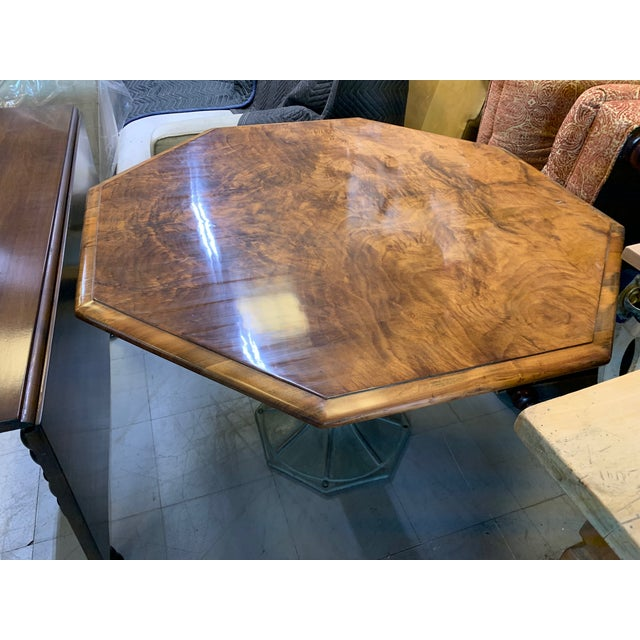Antique Hexagonal Crotch Mahogany Table With Fluted Metal Base For Sale - Image 4 of 8
