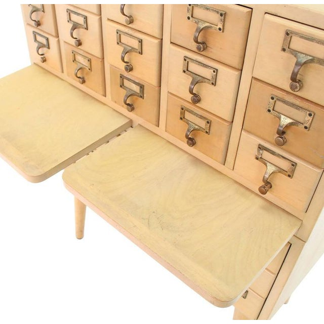 Multi Drawer Vintage All Solid Wood Index Card File Cabinet For Sale In New York - Image 6 of 9
