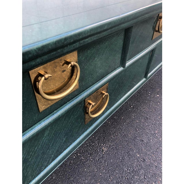 Century Furniture Century Furniture Lacquered Green Malachite Pagoda Console For Sale - Image 4 of 12
