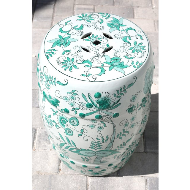 Asian Green and White Garden Stool Table With Hand-Painted Flowers and Vines For Sale - Image 3 of 12
