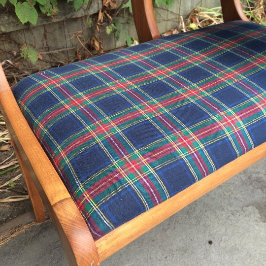 Gossip Telephone Table with Plaid Seat - Image 5 of 6