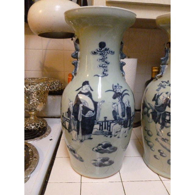 Chinese 19th Century Qing Chinese Blue & White on Celadon Ground Vases - a Pair For Sale - Image 3 of 13