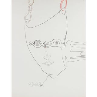 Michael DI Cosola Surrealist Portrait Drawing With Red, Oil Pastel on Paper, Circa 1970s Circa 1970s For Sale