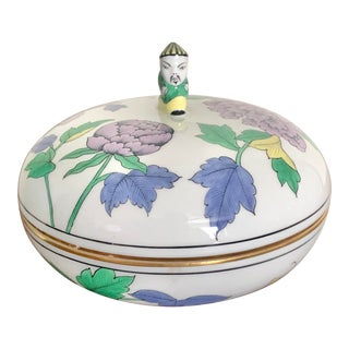 Herend Purple Flower Round Covered Box For Sale