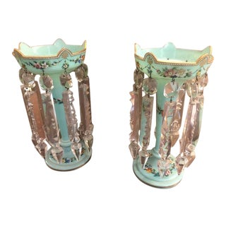 Antique Hand Painted Green Lusters - a Pair For Sale