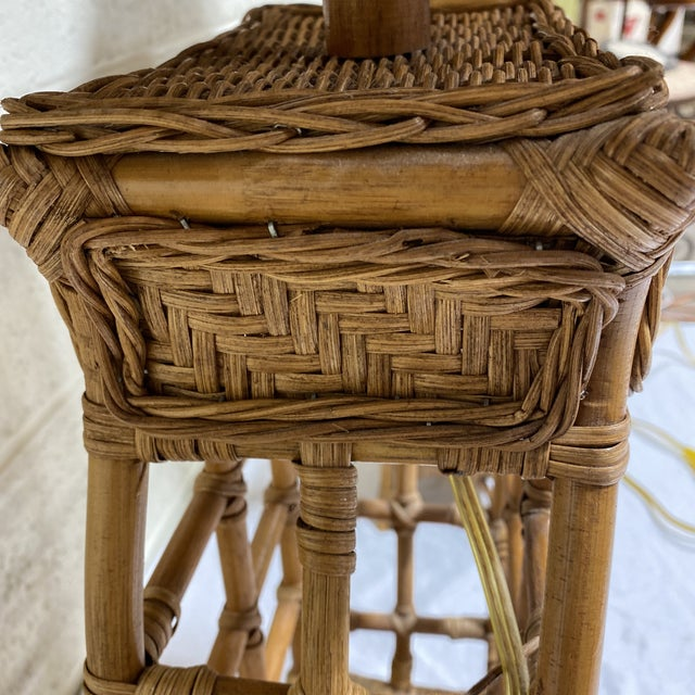 Asian Style Wicker Lamps - Pair For Sale - Image 10 of 13