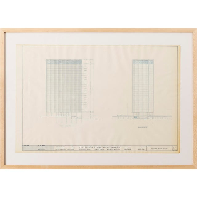 blueprint from the office of Ludwig Mies van der Rohe, Chicago 1961 One Charles Center Office Building, Baltimore, MD...