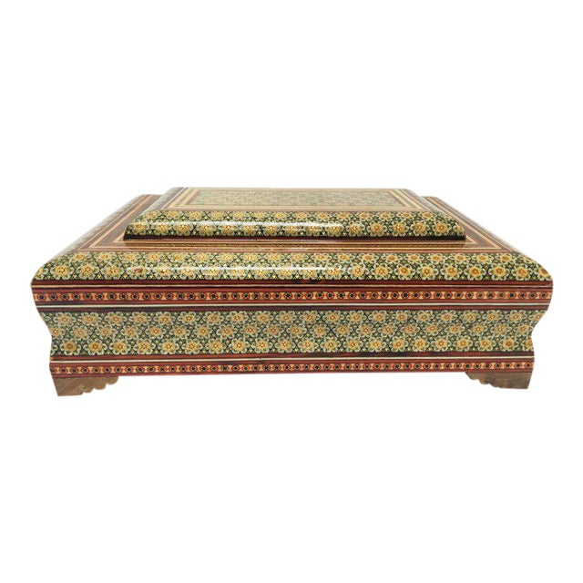 Large Persian Jewelry Mosaic Khatam Inlaid Box For Sale
