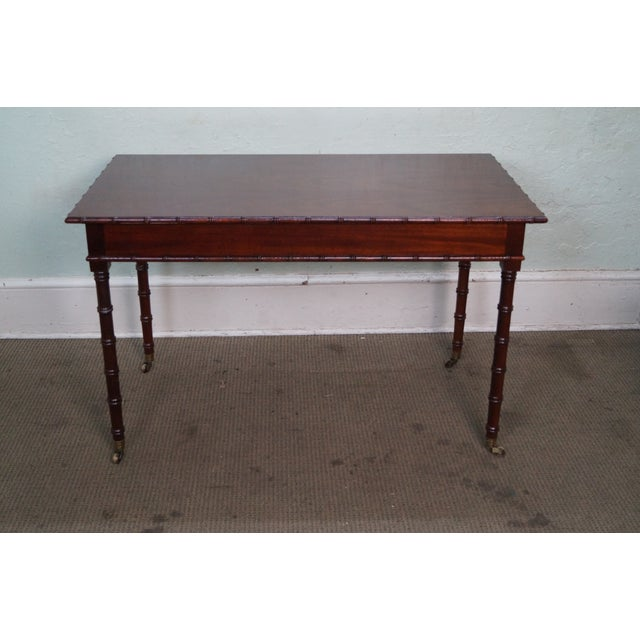 Hickory Chair Faux Bamboo Mahogany Writing Desk For Sale - Image 10 of 10