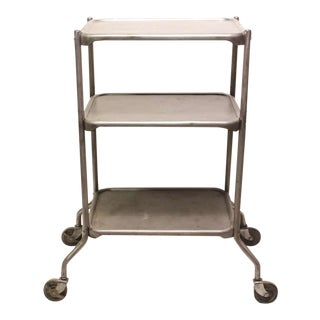 1950's Vintage Industrial 3-Tier Bar Cart For Sale