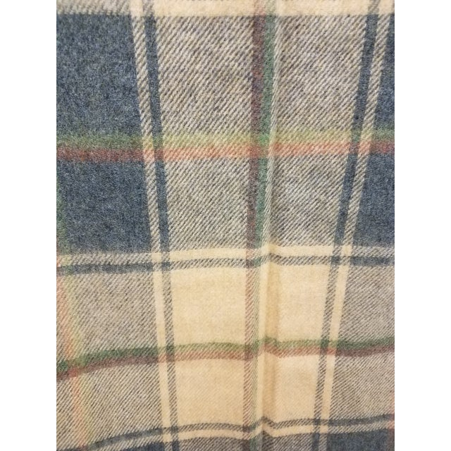Beige Merino Wool Throw Light Soft Beige Grey Green Red Plaid - Made in England For Sale - Image 8 of 13