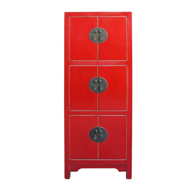 Chinese Red Lacquer Narrow Mid Size 3 Shelves Storage Cabinet - Image 2 of 5