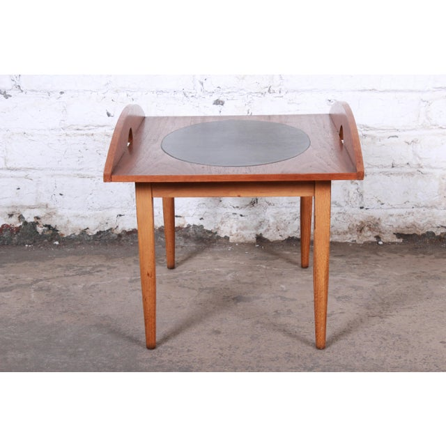 Black Paul McCobb for Lane Signature Collection Walnut and Leather Occasional Side Table For Sale - Image 8 of 11